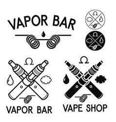 Vape shop and bar logos vector