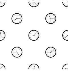 Wall clock pattern seamless black vector
