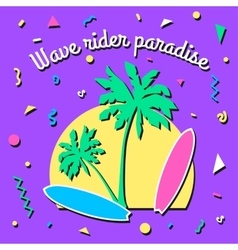 Wave rider paradise - summer background in style vector