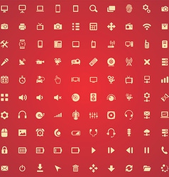 100 device icons vector image
