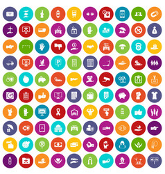 100 hand icons set color vector