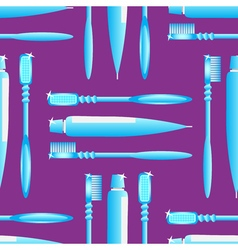 Toothbrush and toothpaste blue on the violet vector