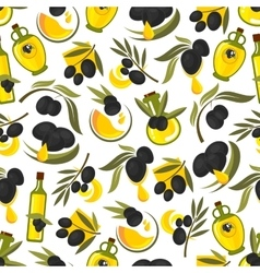 Black olives branches and olive oil background vector