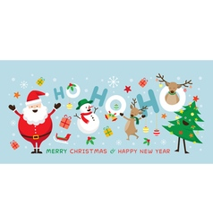 Christmas santa claus laugh ho ho ho with friends vector