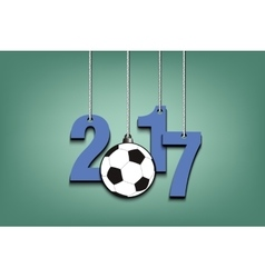 Soccer ball and 2017 hanging on strings vector