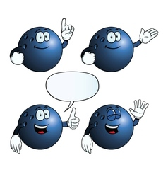 Smiling bowling ball set vector