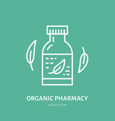 Organic pharmacy line icon logo for vector