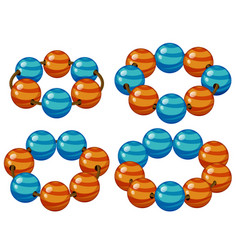 Round beads in blue and orange vector