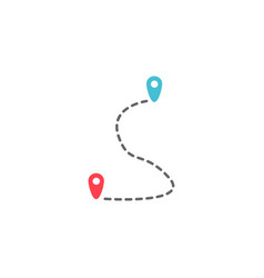 Route solid icon map pointer location sign vector