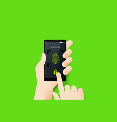 Hand holding smartphone with conceptual unlocked vector