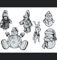 Christmas puppets - hand drawn vector