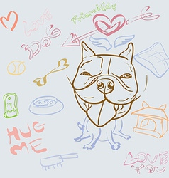Doodle drawing of dog and accessory vector image