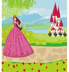 Beautiful princess and knights guard the entrance vector