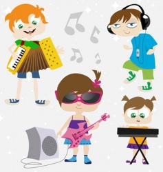 music kids vector image
