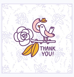 Thank you floral birdie card vector