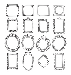 Vintage hand drawn frames doodle set of design vector
