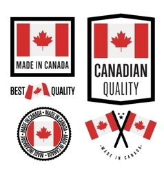 Made in canada label set national flag vector