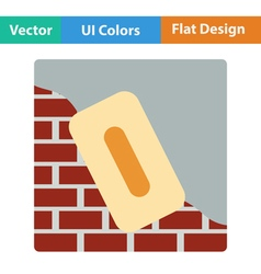 Flat design icon of plastered brick wall vector image