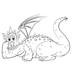 animal outline for dragon with wings vector image vector image