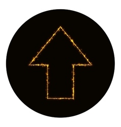 Arrow icon silhouette of gold lights vector image vector image