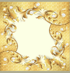 Background frame with gold ornaments vector