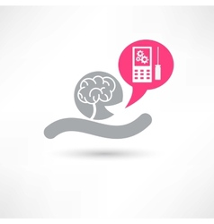 Brain and smartphone icon vector image