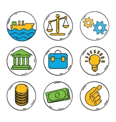 Business colorful icons set for web or vector image vector image