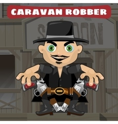 Cartoon character in wild west - caravan robber vector