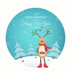 Christmas New Year card funny reindeer character vector image vector image