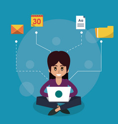 Icon Laptop Amp Woman Vector Images Over 1 500
