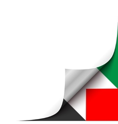 Curled paper corner with palestine flag background vector