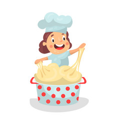 Cute cartoon little girl chef character kneading vector