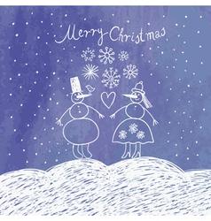 cute snowmans vector image vector image