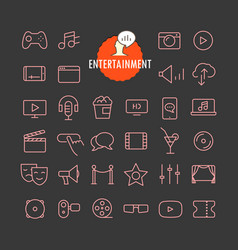 different entertainment icons collection web and vector image vector image