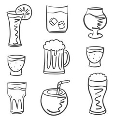 doodle various drink hand draw vector image