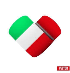 Flag icon in the form of heart I love Italy vector image
