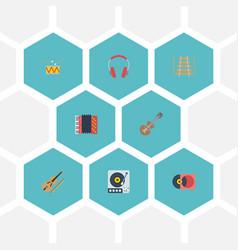flat icons tambourine earphone musical vector image