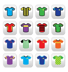 Football jerseys buttons set colour vector