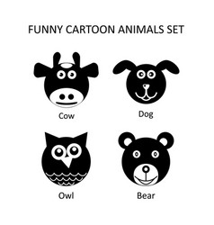 Funny cartoon style animals icons set vector