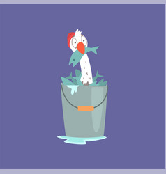 Funny seagull sitting inside of a bucket full of vector