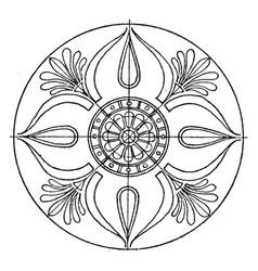 Greek circular panel is a vase painting vintage vector