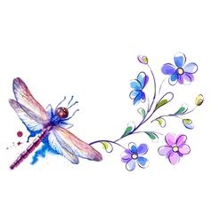 Horizontal background with dragonfly and flowers vector image