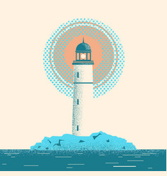 lighthouse seascape horizon vector image vector image