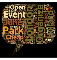 London open air events in june 2008 text vector