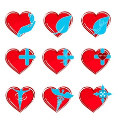 medical heart icons vector image