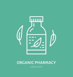 Organic pharmacy line icon logo for vector