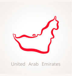 Outline map of united arab emirates marked with vector