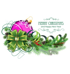 Purple christmas ball with green bow and fir vector