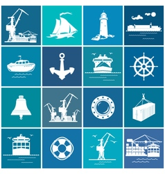 Set of cargo and marine icons vector