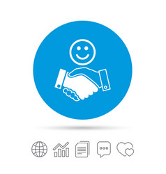 Smile handshake sign icon successful business vector